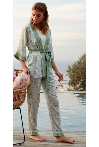Feyza 3447 Kadın Dokuma Sabahlık Pijama Takımı