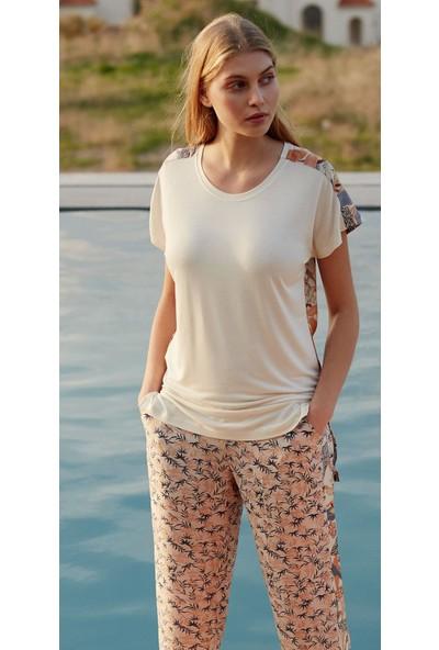 Feyza 3454 Kısa Kollu Dokuma Kadın Pijama Takımı