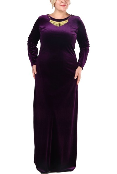 Arn B.B Sabit Kolyeli Kadife Uzun Elbise
