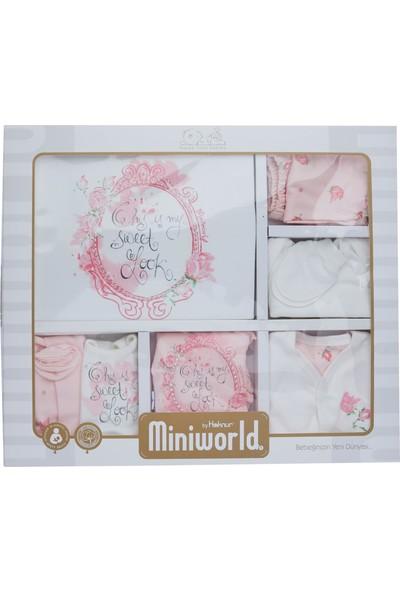 Miniworld Kız Bebek Hastane Çıkışı 10Lu Zıbın Seti Güllü Miniword 13788