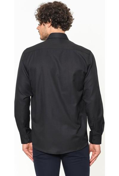 Varetta Pamuk Saten Kumaş Siyah Classic Gömlek