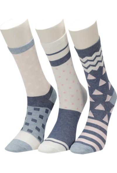 Miss F Geo 3 L Den Kadın Soket Çorap