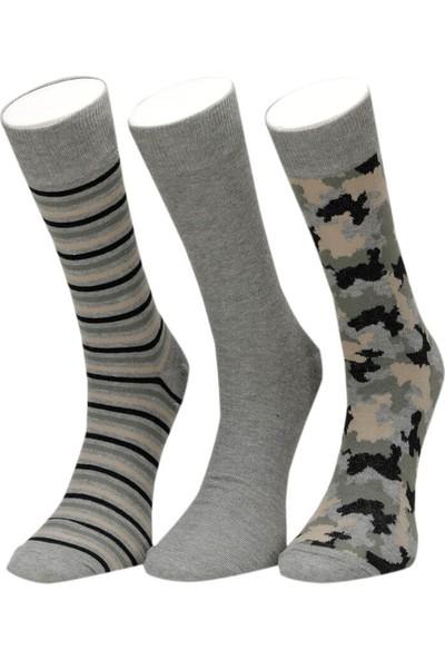 Garamond Kamuflaj 3 Lu Skt-M Yesıl Multı Erkek Soket Çorap