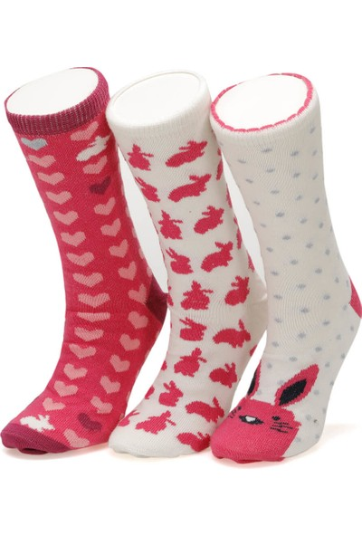 I Cool Rabbit 3 Lu Skt-G Pembe Mult Kız Çocuk Soket Çorap