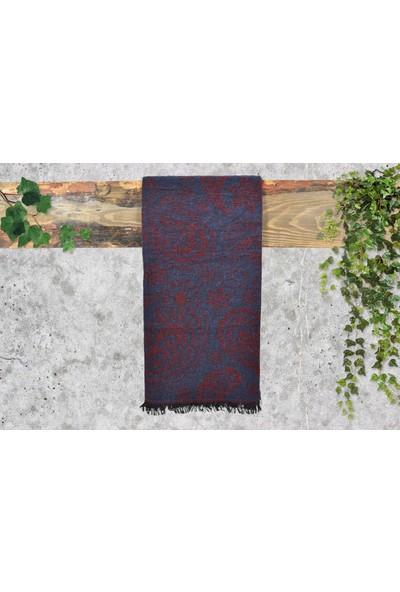 Dolce Bonita Otantik Maxi Kadın Şal 90 x 170 cm Lacivert - Bordo