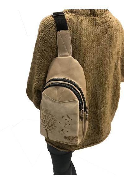 Çanta Stilim Nubuk Deri Taba Renk Sırt ve Bel Kadın Çantası