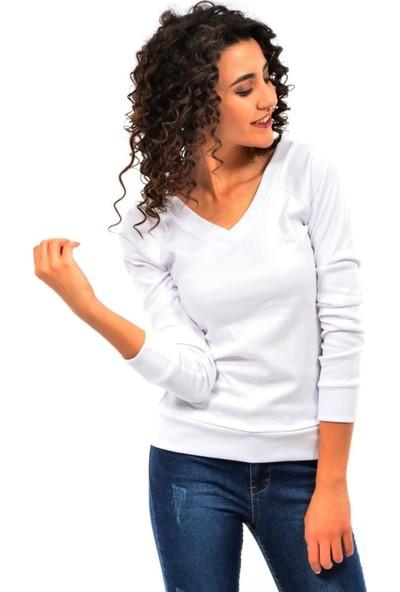 Dies Kadın Ön Arka V Yaka Sweatshirt