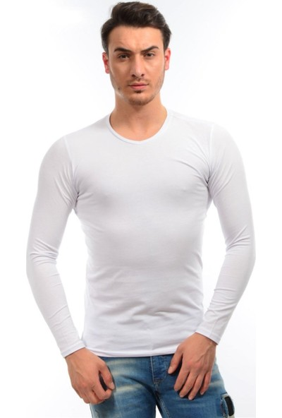 Dies Uzun Kol V Yaka Beyaz Sweatshirt