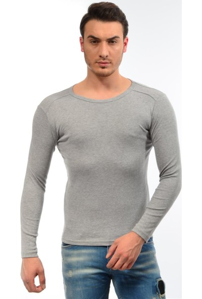 Dies Uzun Kol Omuz Parçalı Gri Sweatshirt