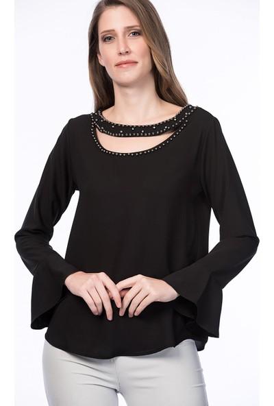 Lafaba Kadın Siyah Yakası Çakımlı Bluz