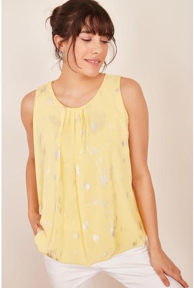 Lafaba Kadın Sarı Varaklı Balon Kolsuz Bluz
