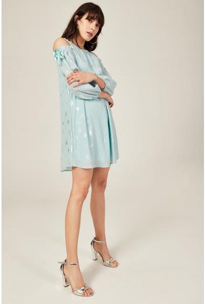 Lafaba Kadın Mint Yeşili Ensesi Kurdele Bağlamalı Varak Desen 88 Cm Elbise
