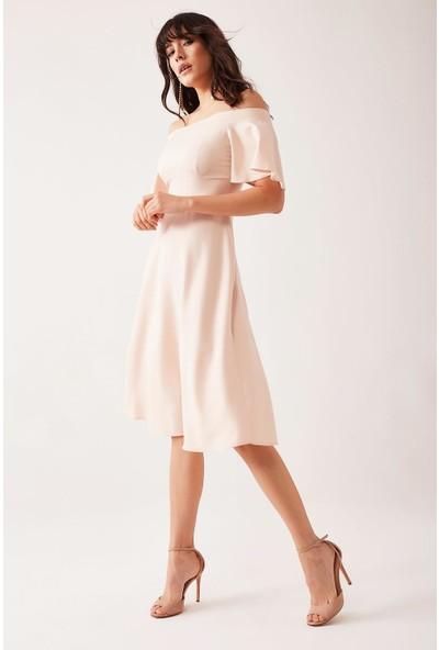 Lafaba Kadın Bej Omuzu Açık Elbise
