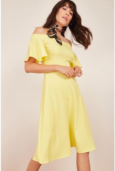 Lafaba Kadın Sarı Omuzu Açık Elbise