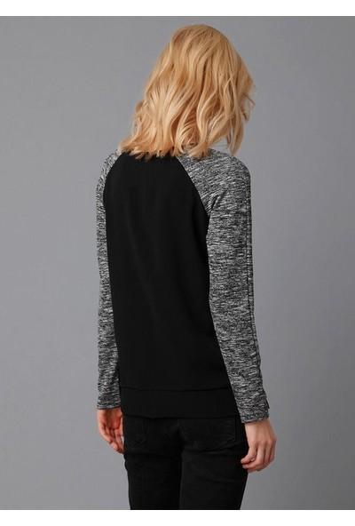 Lafaba Kadın Siyah Kuşgözlü Garnili Cep Detaylı Bluz