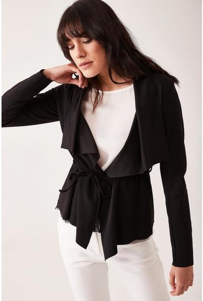Lafaba Kadın Siyah Şal Yaka Kısa Ceket