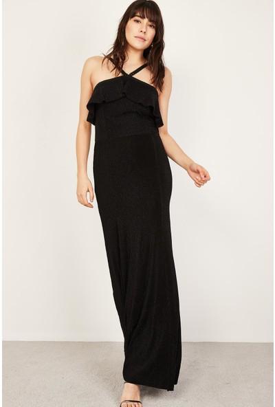 Lafaba Kadın Siyah Volanlı Simli Uzun Elbise