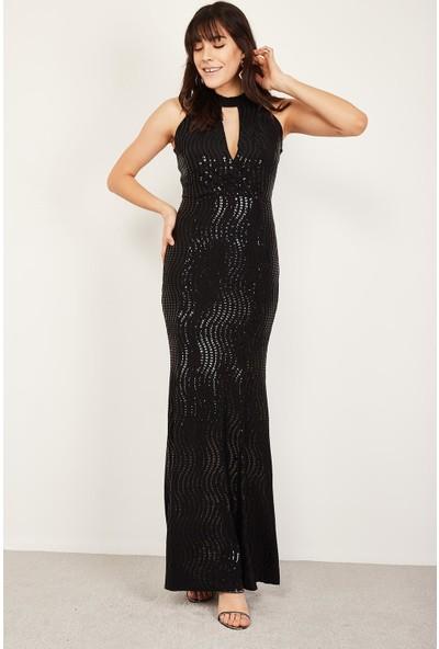 Lafaba Kadın Siyah Pullu Uzun Elbise