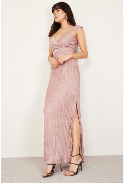 Lafaba Kadın Pudra Omuz Detaylı Uzun Elbise