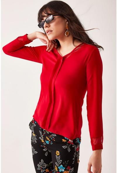 Lafaba Kadın Kırmızı V Yakalı Puan Tül Detaylı Bluz