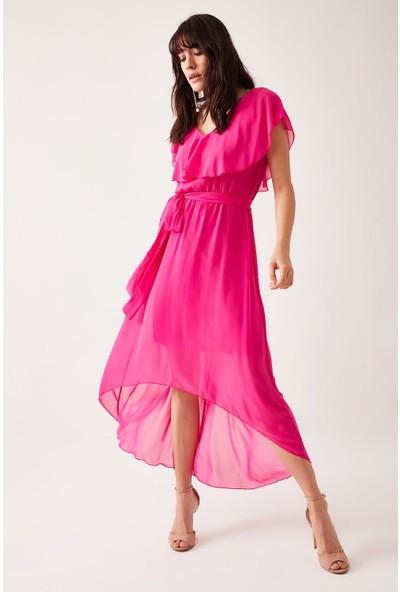 Lafaba Kadın Fuşya Şifon Uzun Elbise