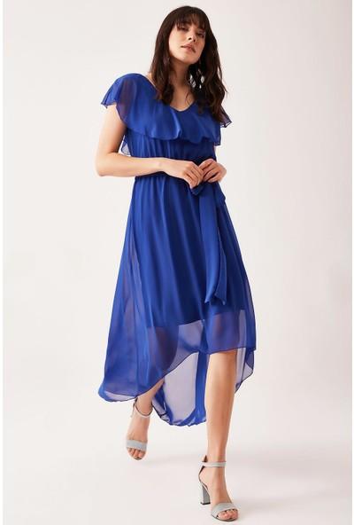 Lafaba Kadın Mavi Şifon Uzun Elbise
