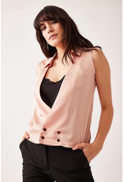 Lafaba Kadın Pudra Yakası Dantelli Kolsuz Bluz