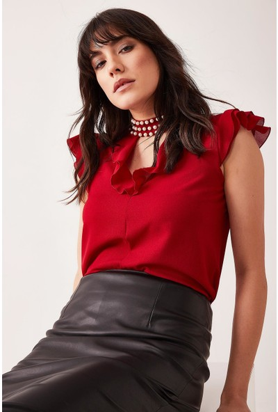 Lafaba Kadın Bordo Volanlı Bluz
