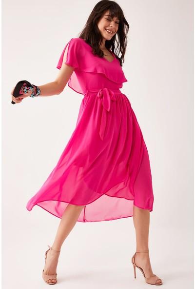 Lafaba Kadın Fuşya Volanlı Şifon Elbise
