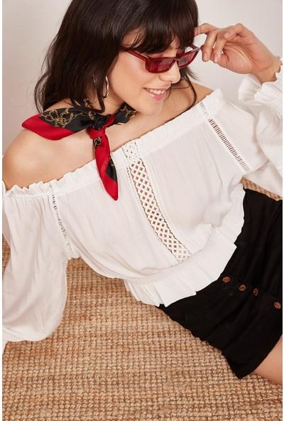 Lafaba Kadın Beyaz Kolları Ve Beli Büzgülü Bluz