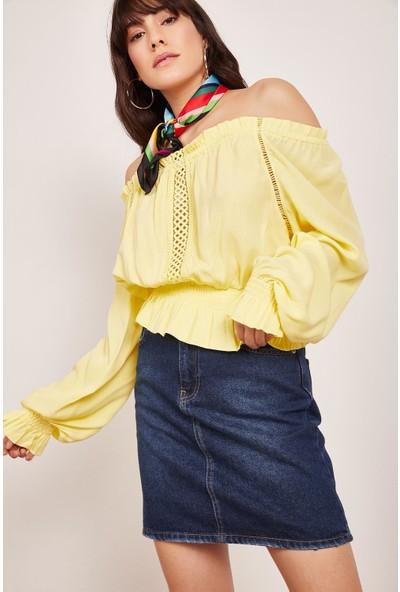 Lafaba Kadın Sarı Kolları Ve Beli Büzgülü Bluz