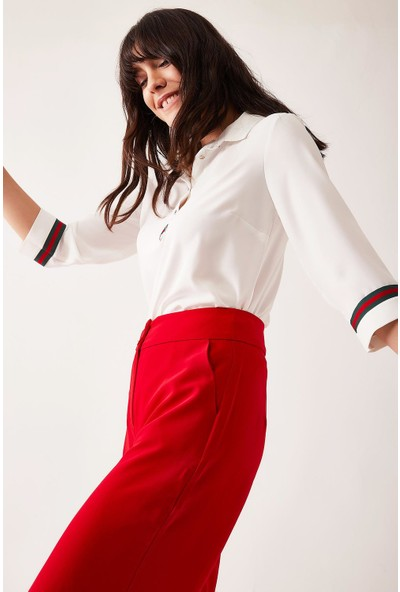 Lafaba Kadın Beyaz Şerit Detaylı Bluz