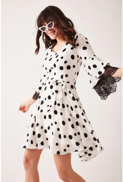 Lafaba Kadın Beyaz Kolları Dantel Puantiyeli Elbise