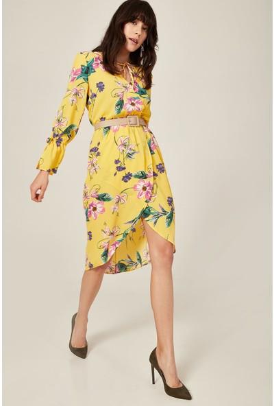 Lafaba Kadın Sarı Desenli Kruvaze Elbise