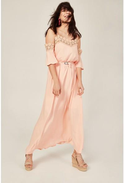 Lafaba Kadın Pudra Dantelli Uzun Elbise