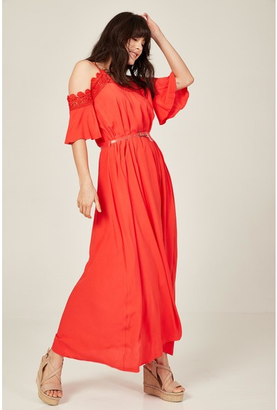 Lafaba Kadın Mercan Dantelli Uzun Elbise