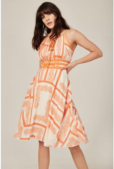 Lafaba Kadın Turuncu Dantel Desen Askılı Elbise