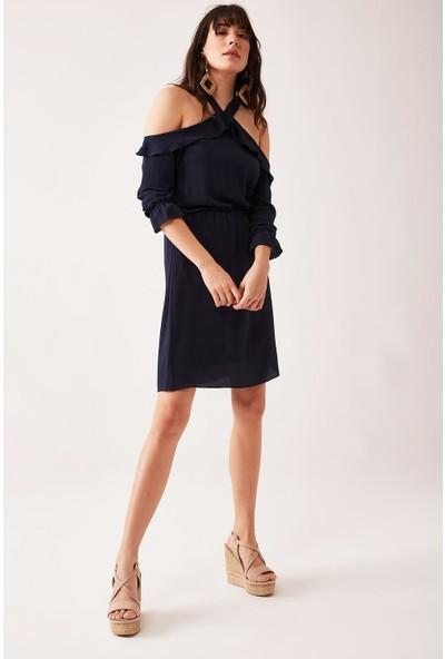 Lafaba Kadın Lacivert Omuzları Dekolteli Elbise