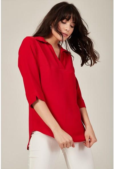 Lafaba Kadın Kırmızı V Yakalı Bluz