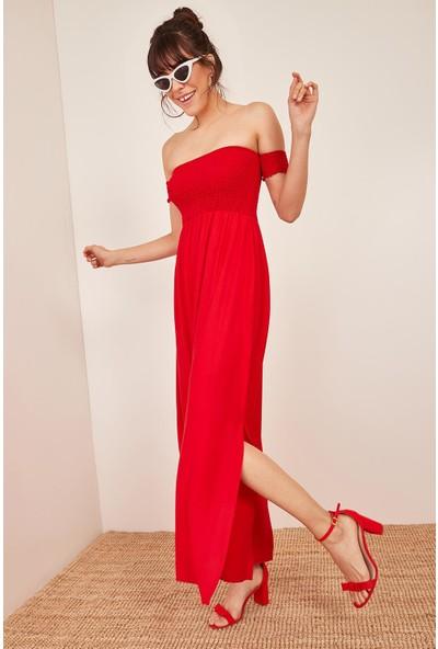 Lafaba Kadın Kırmızı Düşük Omuzlu Lastikli Elbise
