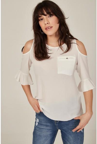 Lafaba Kadın Beyaz Sırtı Düğmeli Bluz