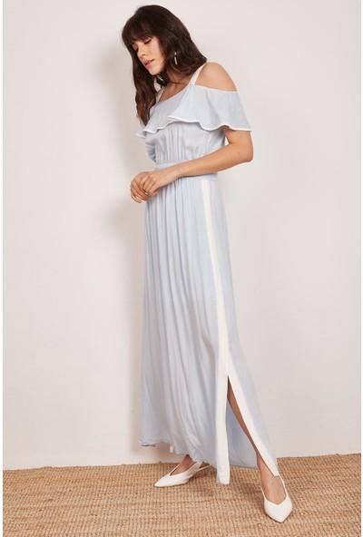 Lafaba Kadın Bebe Mavi Yanları Şeritli Elbise