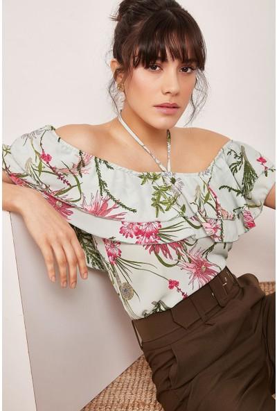Lafaba Kadın Mint Yeşili Boyundan Bağlamalı Desenli Bluz