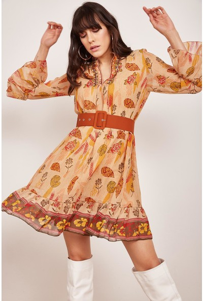 Lafaba Kadın Bej İşlemeli Desenli Elbise