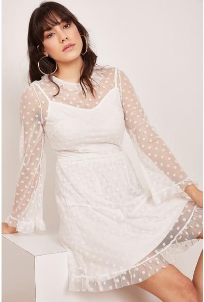 Lafaba Kadın Beyaz Puantiyeli Tüllü Elbise