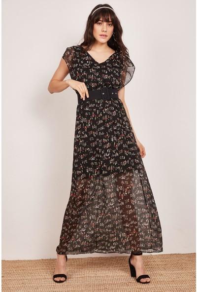 Lafaba Kadın Siyah Pensli Uzun Elbise