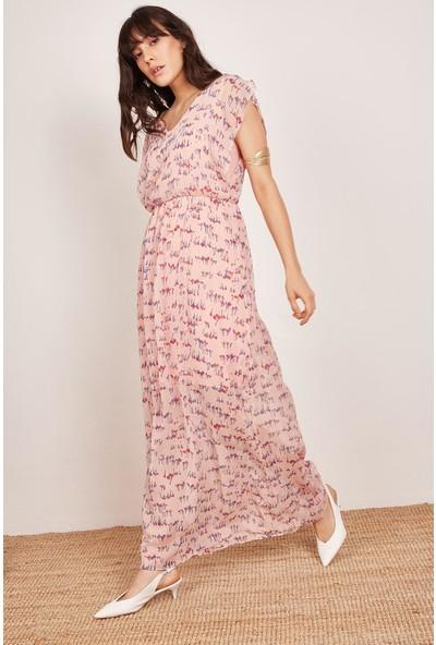 Lafaba Kadın Pudra Pensli Uzun Elbise