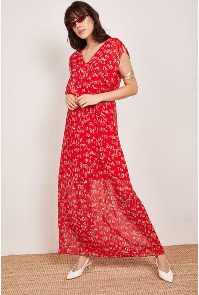 Lafaba Kadın Kırmızı Pensli Uzun Elbise
