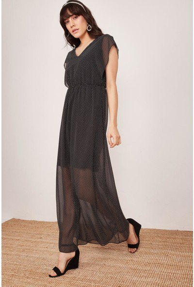 Lafaba Kadın Siyah Puantiyeli Uzun Elbise