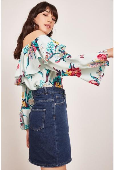 Lafaba Kadın Mint Yeşili Volanlı Desenli Bluz